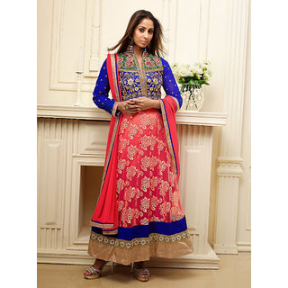 Fabulous Blue And Red Heavy Neck Embroidered Anarkali Suit