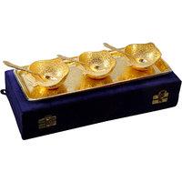 Anand Kala Mandir Gold Plated Apple Shaped Brass Bowls And Tray Set Of 7 Pcs