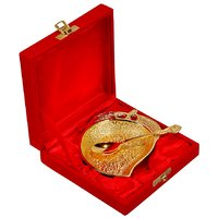 Gold Plated Mango Shaped Brass Bowl With Spoon For Gift