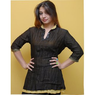 Yellow & Black Layered Chanderi Top With Sequins Work