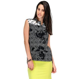Yepme Lexi Abstract Print Top - Black