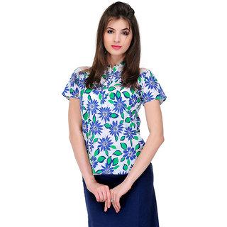 Yepme Klara Floral Top - White & Blue