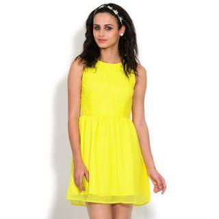 Yepme Pippa Cutout Lace Dress - Yellow