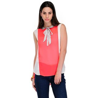 Yepme Stacie Sheer Top - Pink & Ecru