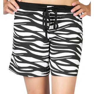 Nuteez I Am Wild Black & White Cotton Shorts
