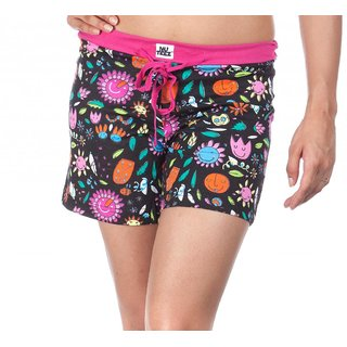 Nuteez Flower Power Black & Pink Cotton Shorts