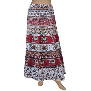 Elephant & Peacock Design Wrap Around SKirts, Indian Handmade Skirts Wrap Around