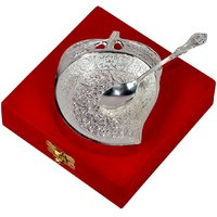 Festival Gift Silver Plated Mango Shaped Brass Bowl With Spoon
