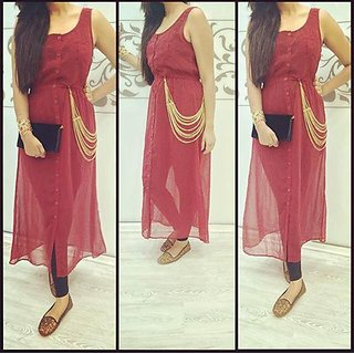 Marron Indowestern Dress With Golden Side Strings