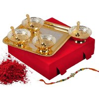Rakhi Combo Gifts Silver And Gold Plated Brass Bowls Set Of 9 Pcs