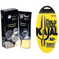 Revlon Touch & Glow LIquid Powder Foundation+Maybelline Colossal Kajal