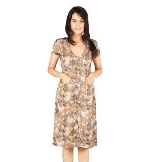 Lapel Dress With Pop-Up Button (Brown)