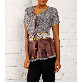 Peplum Top In Choco Brown Color