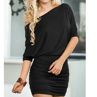 Off Shoulder Short Sleeve Clubwear Mini Dress Black