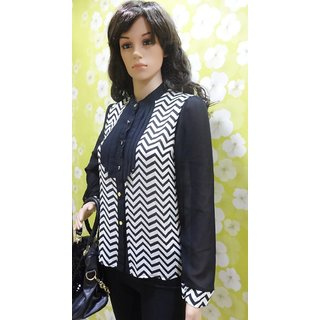 Style Wave-black & White Zig Zag Georgette Fancy Shirt