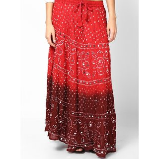 Rajasthani Sarees Pretty Jaipuri Bandhej Cotton Skirt