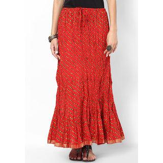 Rajasthani Sarees Nice Cotton Lehariya Printed Long Skirt