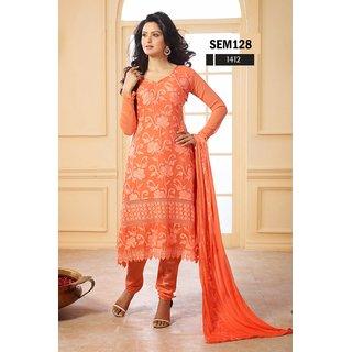 Beautiful Orange Georgette Embroidered Chridar Suit