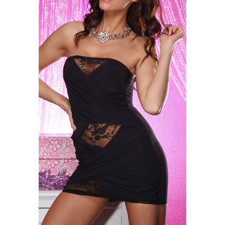 Sexy Strapless Lace Clubwear Mini Party Dresses Black