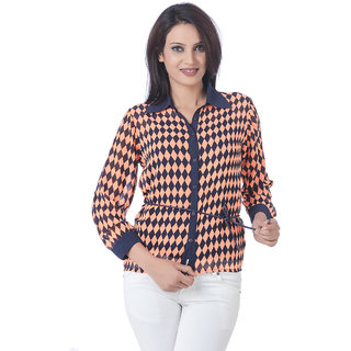 Deal Lovely Orange Poly Georgette Top