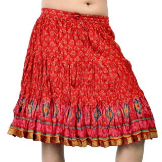 Rajasthani Design Pure Cotton Red Short Skirt 257