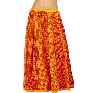 Ethnic Jaipuri Yellow Red Cotton Lehanga Skirt 275