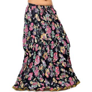 Ethnic Multi Floral Designer Black Long Skirt 241 [CLONE]