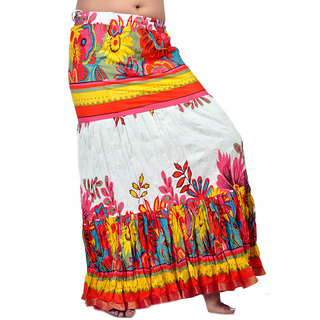 Rajasthani White And Orange Cotton Long Skirt 269 [CLONE]