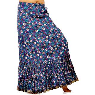 Fish Cut Floral Print Blue Pure Cotton Skirt 260 [CLONE]