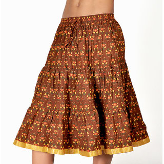 Rajasthani Brown And Yellow Cotton Short Skirt 300 [CLONE]