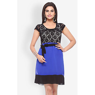 Blue And Black Flare Dress For Girls