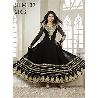 Semi Stitched Kumud Black Embroidered Anarkali Suit