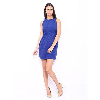 Blue Polka Dot Print Tailored Dress For Girls