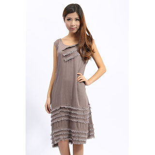 Latest Fashion Casual Long Dress Coffee. GLITZY BY ROOHIE