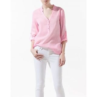 FloRida Egyptian Cotton Casual V Neck Long Sleeve Solid Pink Shirt