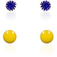 Trendy Baubles Set Of 2: Blue Crystal Dot & Yellow Enamel Dot Metal Studs