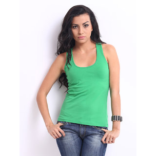 Green Racer Back Tank Top Spaghetti In Free Size