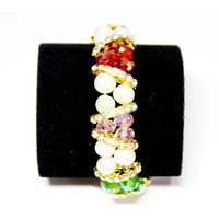 Fresh Water Fancy Pearl Bracelet - Multi Colour Beads In White Pearl