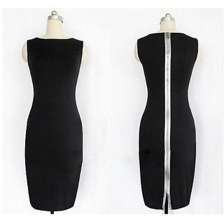 Black Bodycon Dress With Full Zip At Back