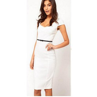 White Sheath Dress Without Belt