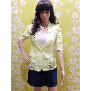 Style Wave-top Striped Yellow Fancy Puff Three Fourth Sleeved Designer Shrug
