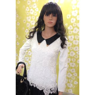 Style-Wave-collared-white-lace-graceful-top-Elegant Lace Collared Top