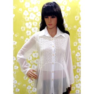 Style Wave-White Lace Full Sleeve Shirt With Belt-Two Style Sleeves
