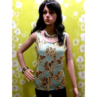 Party Wear Studded Sleeveless Stretchable Top-elegant Perfect Party Studded Top - 4419002