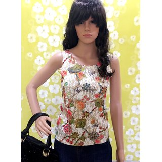 Style Wave-top Summer Special Multicolour Sleeveless Top With Golden Effects