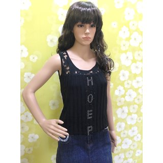 Style Wave-top Black Baloon Sleeveless Top Lace Front And Back Shoulder
