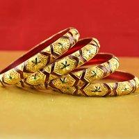 Rajasthani Gokharoo,kara Churi Meenakari,moti,cz,stone,bangles Size-2.4,2.6,2.8 - 531537