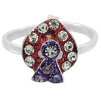 R S Jewels Red Blue Colour Enamel White Cz Stone German Silver Toe Rings