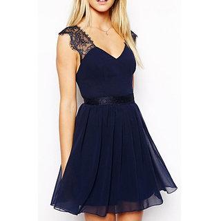 New Casual Sleeveless Sexy Lace Backless V Neck Chiffon Dress L