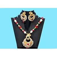 Peacock Shape Multicolour Necklace Set
